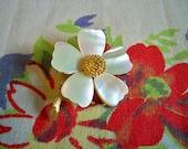 Vintage Mandle Mother of Pearl Floral Brooch Designer Costume Jewelry