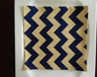Navy Blue and Tan Chevron Cotton Dinner Napkins. Designer Fabric. Set of 6. Every Day Napkins; Hostess or Christmas Gift.