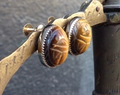 Egyptian Revival Gold Filled Carved Tigers Eye Scarab Earrings