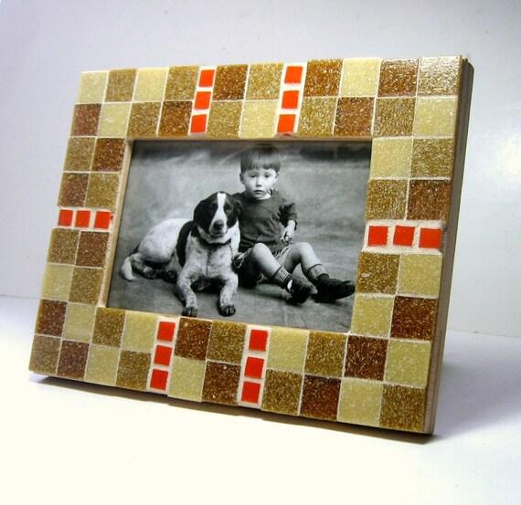 Mosaic Frame, Caramel Orange Frame, 4x6 Glass Tile Frame, Handmade Picture Frame, Tan Brown Orange Mosaic Tile Frame, Orange Bronze Frame