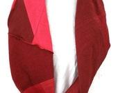 Hemp/Tencel and Hemp/Organic Cotton Infinity Scarf in Shades of Red Handmade