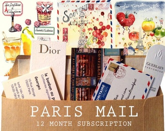 Monthly Paris Letters: 12 Paris Sketch Letters in your mailbox monthly + Bear watercolor bonus