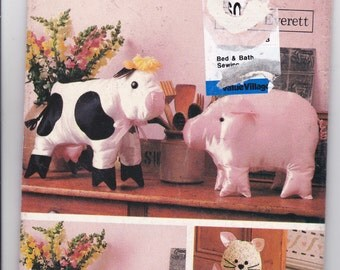 OOP New 1988 Butterick pattern 6156 Country Animals Cow, Pig, Sheep and Cat