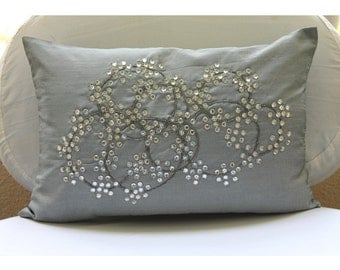 Decorative Oblong / Lumbar Rectangle Throw Pillow Cover Accent Sofa Bed Pillow Couch Toss 12x16 Silver Silk Pillow Case Bead Crystal Circles