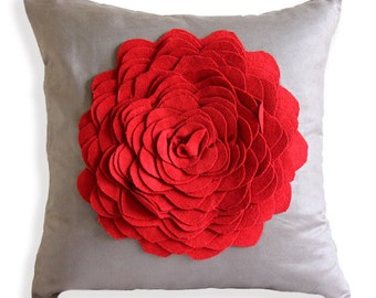 "Luxury Brown Pillows Cover, 16""x16"" Faux Suede Pillows Cover, Square  3D Red Felt Origami Rose Flower Pillows Cover - Red Rose"