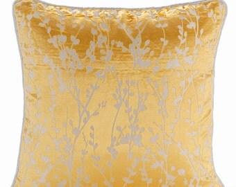 Decorative Sham Pillow Covers Couch Pillow Sofa Pillow Toss Pillow Burnout Velvet Pillow Case 24x24 Throw Pillow Cover Mimosa Yellow Drops