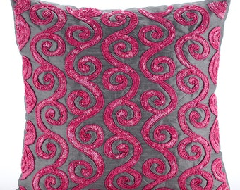 "Pink Decorative Pillows Cover, 16""x16"" Silk Pillows Covers For Couch, Square  Beaded Fuchsia Pink Scroll Pillows Cover - Pink Sugar Scroll"