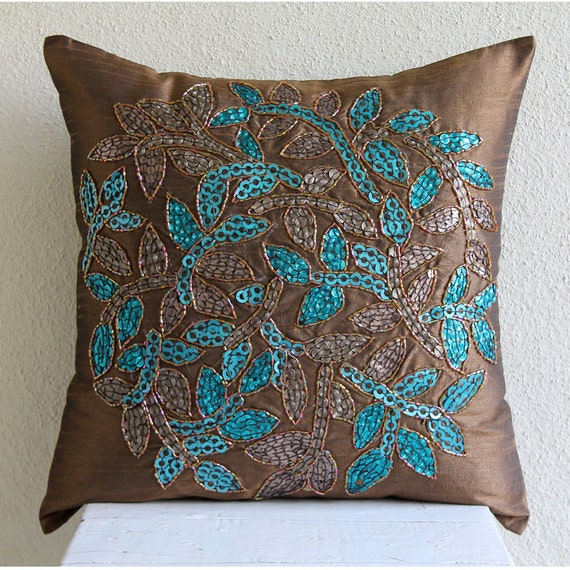 Thehomecentric Luxury Brown Throw Pillow Covers 40x40 Silk Unique Medallion Pillow Covers
