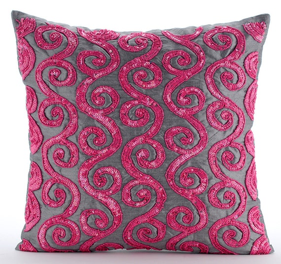 Pink Decorative Pillows : Pink Decorative Pillows Cover 16x16 Silk Pillows