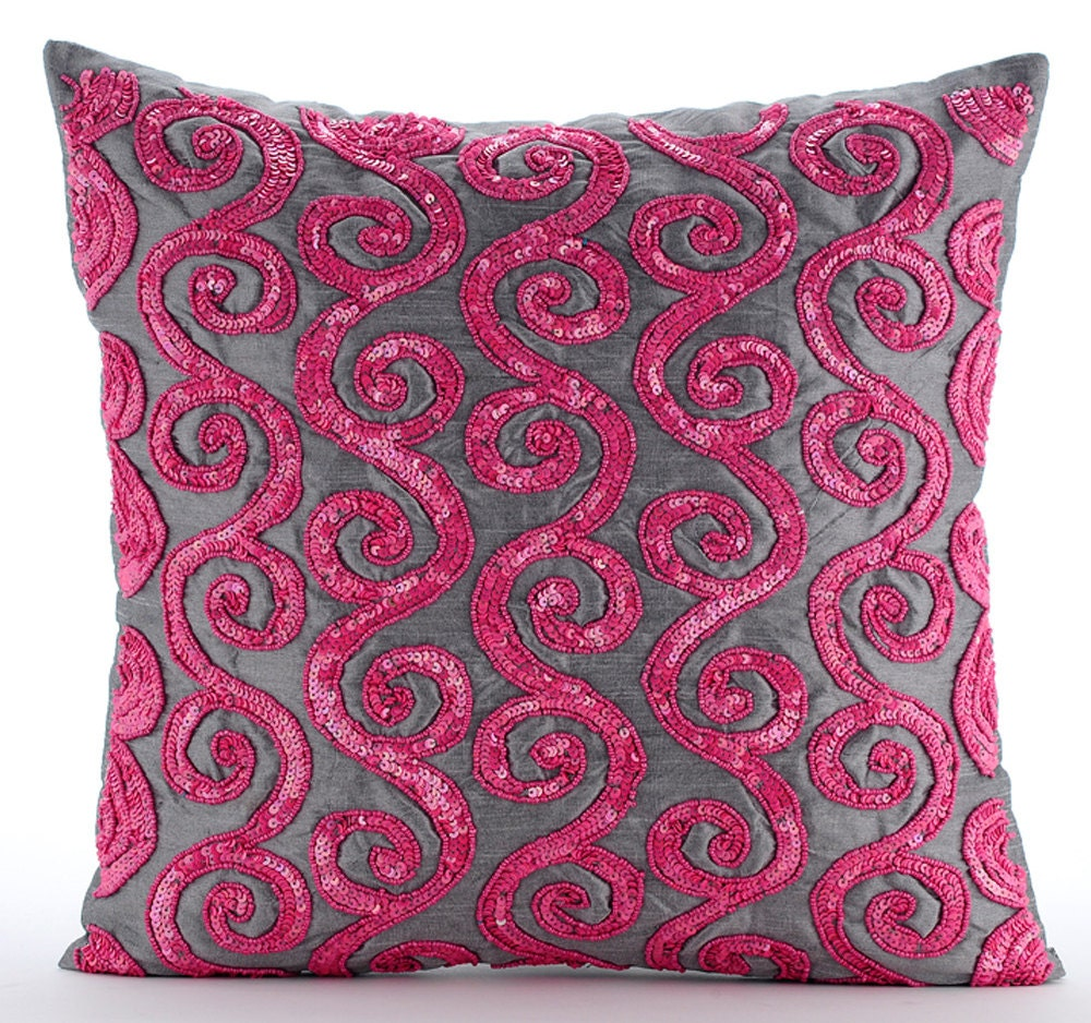 Red Silk Decorative Pillows : Pink Decorative Pillows Cover 16x16 Silk Pillows
