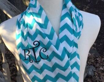Aqua Chevron Infinity Scarf-Monogram included-Personalized scarf