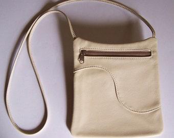 Leather Purse - Cream Color/Off White Handbag - Cross Body Style Festival Bag