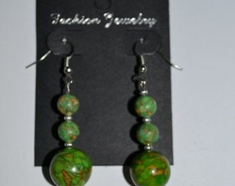 Green Turquoise Beaded Dangle Earrings