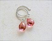 The Siren Earrings - mystic pink quartz earrings, hot pink earrings, sweet pink drop earrings, handmade jewelry, bridesmaid jewelry DE02