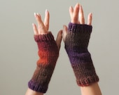 Hand Knit Gloves - Hand Knit Mittens - Hand Knit Fingerless Gloves - Hand Knit Winter Gloves - Wool Wrist Warmers - NY Elegant  Gloves -#56
