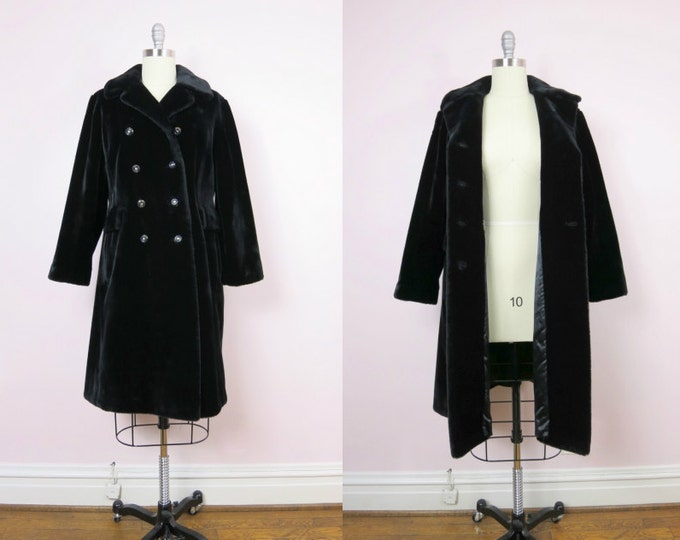 1960s Black Faux Fur Double Breasted Coat L