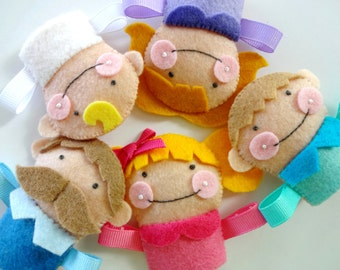 Felt Finger Puppet Family Sewing Pattern - PDF ePATTERN - Mom, Dad, Big Sister, Little Brother, Baby, Grandma & Grandpa