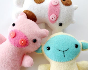 Farm Animal Softies Sewing Pattern - Tutorial - PDF ePATTERN - Cow, Sheep, Goat & Pig