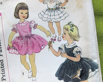 1956 Girls Vintage Dress Sewing Pattern - Simplicity 2716 Girls Party, Flower Girl Dress and Jumper  // Size 6 UNCUT FF