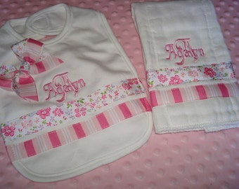 Adalyn Personalized Bib and Burp Set-Name and/or up to 3 initials