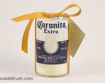 Coronita Extra Beer Bottle Candle Cute Beer Theme Decor Mexican Beer Gift Unscented Soy Wax Recycled Glass Container Candle Eco Candle
