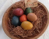 Six 6 Painted Grungy Paper Mache Eggs Egg Easter Spring Grass Hang Tag Dark Primitive Look