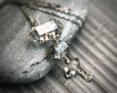 Triple Moss Herkimer Diamond Sterling Silver Necklace