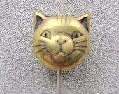 BEAD, Bead,CAT, Head, METALIZED, Plastic, Gold, Antiqued, Round, Earring,  8mm