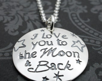 I Love You to the Moon & Back Necklace - Custom Design in a Whimsical Mix of Fonts by Eclectic Wendy Designs