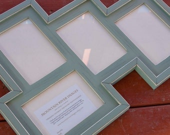 MULTI 4 Opening 5x7 distressed pine collage Frame holds 3 5x7's in portrait position and 1 5x7 in landscape ..arrowroot...Handmade