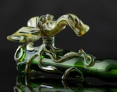SALE Octophant, Octopus Elephant Large Glass Pipe Chillum Bat Hand Blown Thick Wall in Emerald Green & Camouflage, Ready to Ship #132