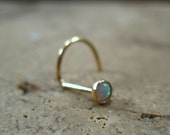 Gold White Opal Nose Screw 3mm - Gold Nose Stud, Opal Nose Stud, White Opal Nose Stud, Fire Opal Nose Stud, Gold Nose Screw, Opal Nose Screw
