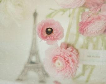 Still Life Photo, Eiffel Tower, Ranunculus Photo, Pale Pink Print, Nursery Art, Flower Photography, Flower Print, Pink Ranunculus, Dreamy