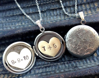 Personalized wedding jewelry, anniversary date initial locket necklace, floral locket, bridal necklace, long silver locket necklace