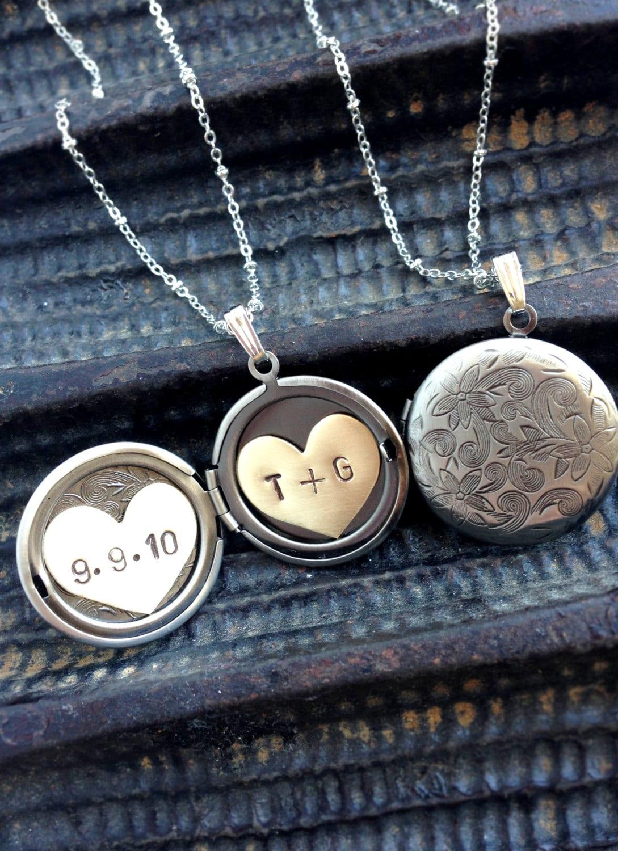personalized wedding jewelry anniversary date initial locket