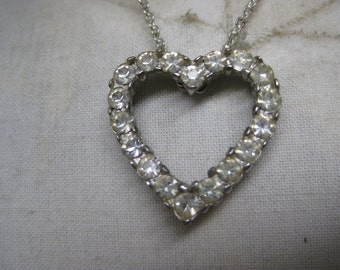 Heart Rhinestone Silver Necklace Vintage Pendant Clear
