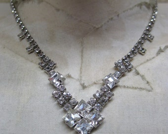 Rhinestone Silver Necklace Clear Vintage
