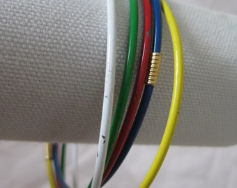 White Blue Green Yellow Red Gold Bracelet Bangles Vintage