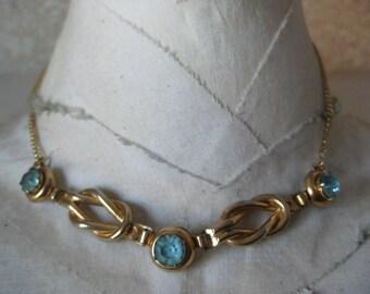 Shabby Blue Rhinestone Gold Choker Necklace Vintage