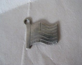 St. Ignace Michigan Charm American Flag Silver Vintage