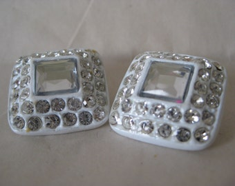 2 White Square Rhinestone Buttons Clear Vintage Two