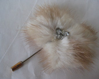 Fur Rhinestone Stick Pin Clear Tan Vintage