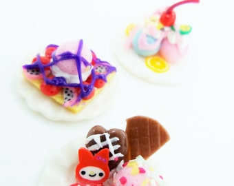 Miniature Foods Polymer Clay Supplies for Dollhouse Collection and Bakery Jewelry, set of 3 pieces