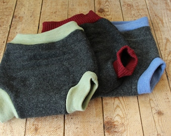 Set of Three Wool Diaper Covers - Made to Order BUNTINGS  - Custom sizes newborn to toddler - Includes Free Wool Change Pad