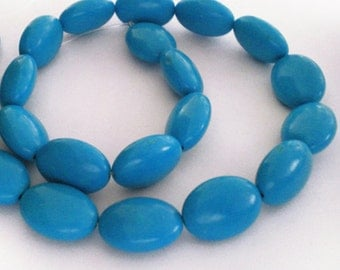 Full Strand - 18x13 Blue Oval Turquoise Stone beads