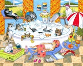 Art print 8x10 from funny bathroom art painting Cat 601 cats in bath by Lucie Dumas