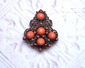Vintage Dress Scarf Fur Clip New England Glass Works Brooch Women's Accessory