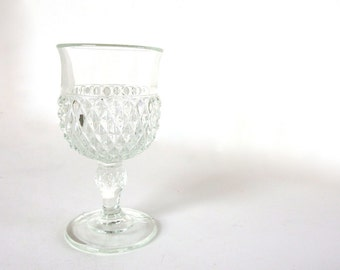 2 Vintage 1970's Clear Diamond Point Footed Water Goblets, Retro Dishes
