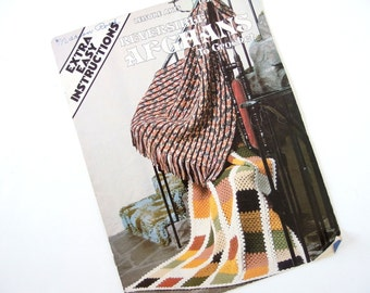Vintage 1970's Reversible Afghans Crochet Pattern Booklet Pamphlet from Leisure Arts