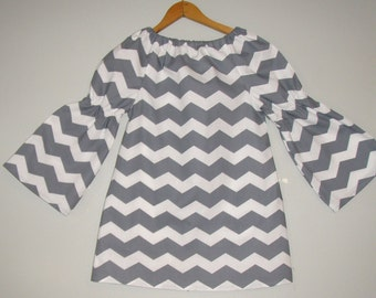 Chevron top  in Grey  and white peasant tunic top long sleeves  sizes ,2t,3t,4t,5t,6,7,8,10